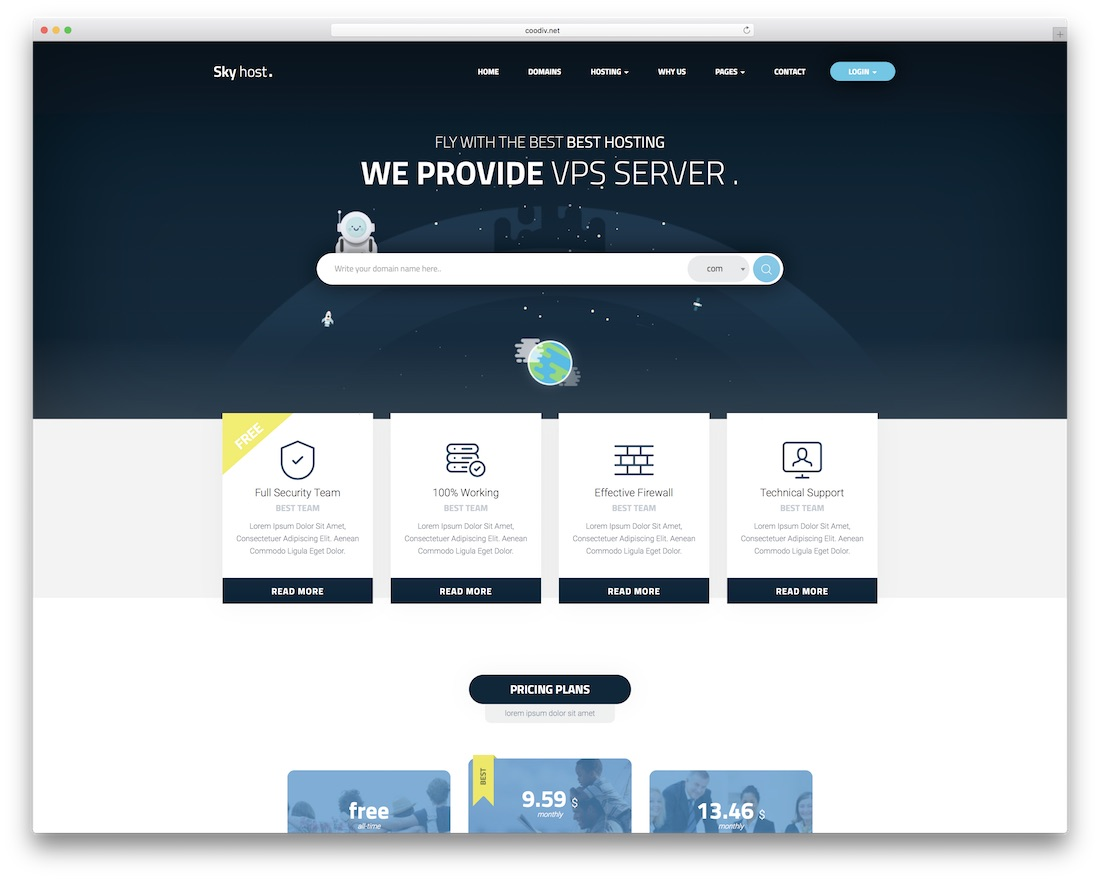 skyhost web hosting website template