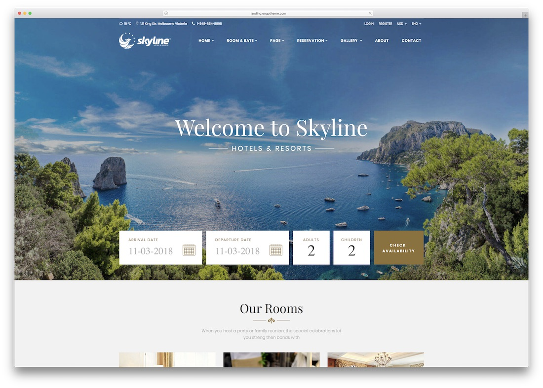 skyline html5 hotel website template