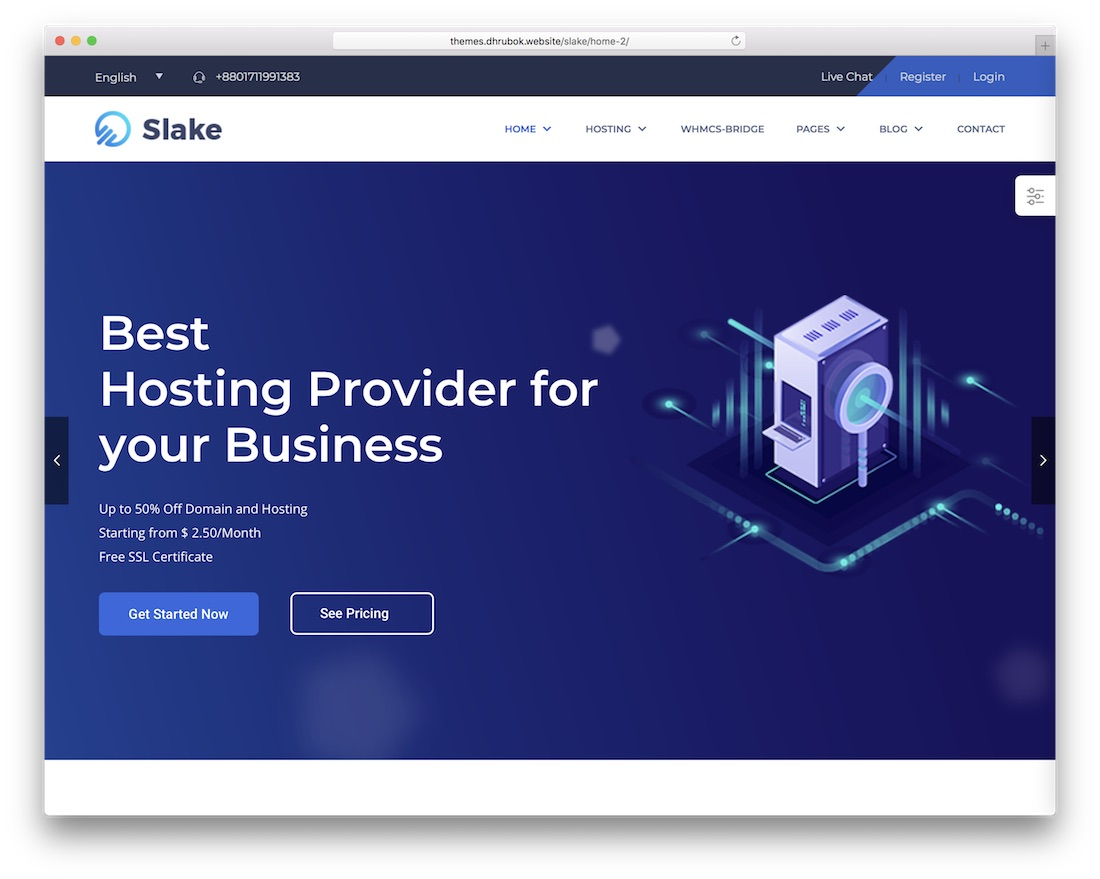slake hosting wordpress theme