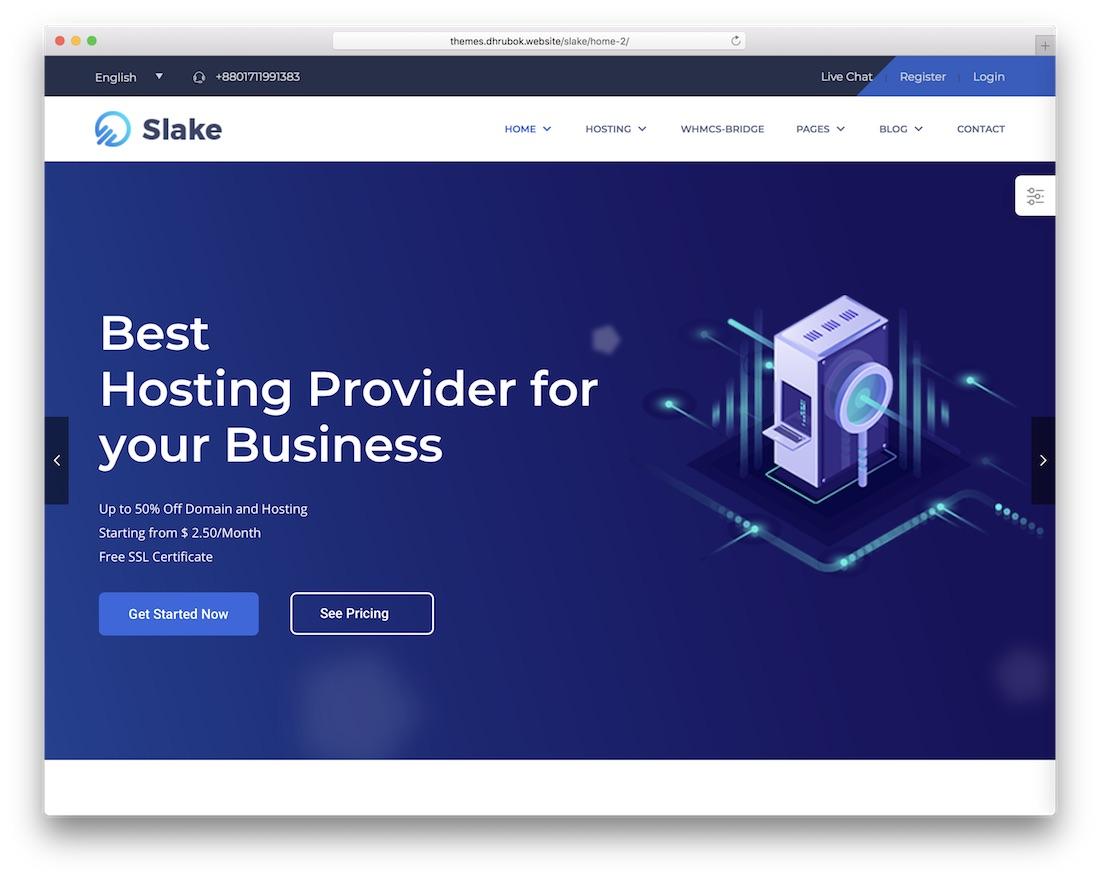 slake hosting wordpress theme