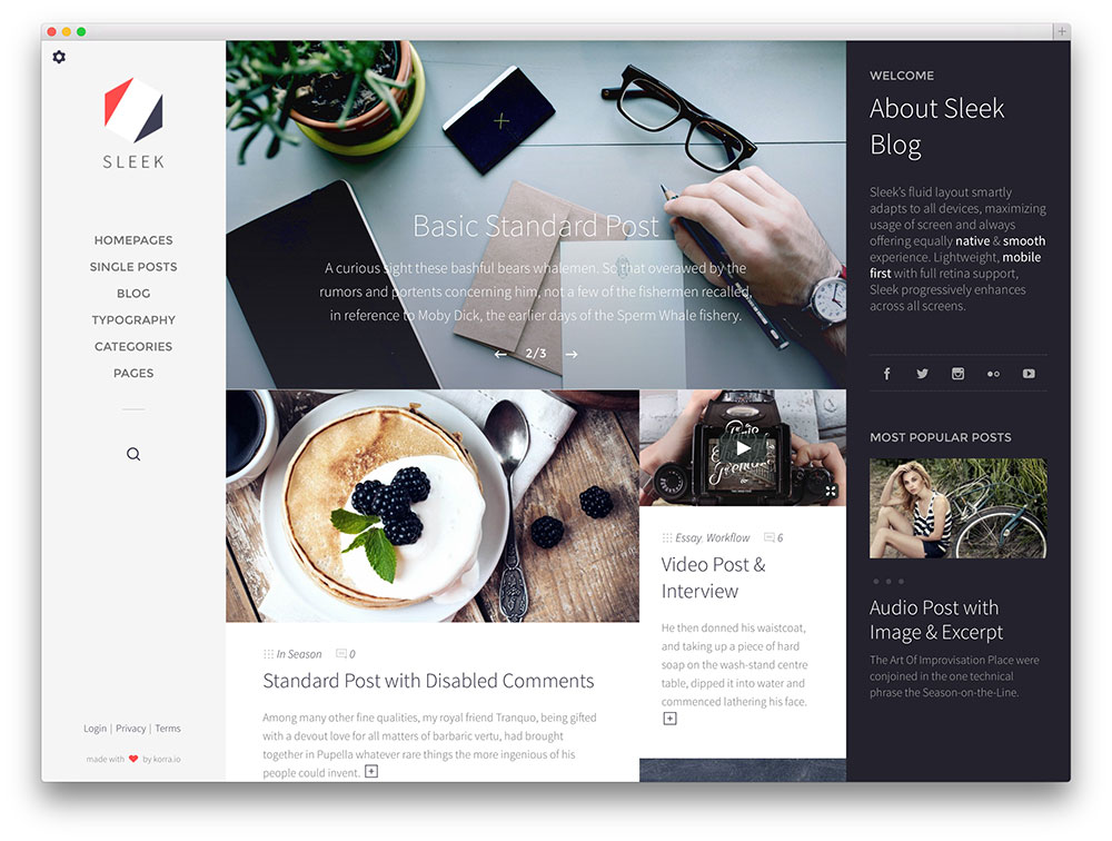 sleek premium masonry grid theme