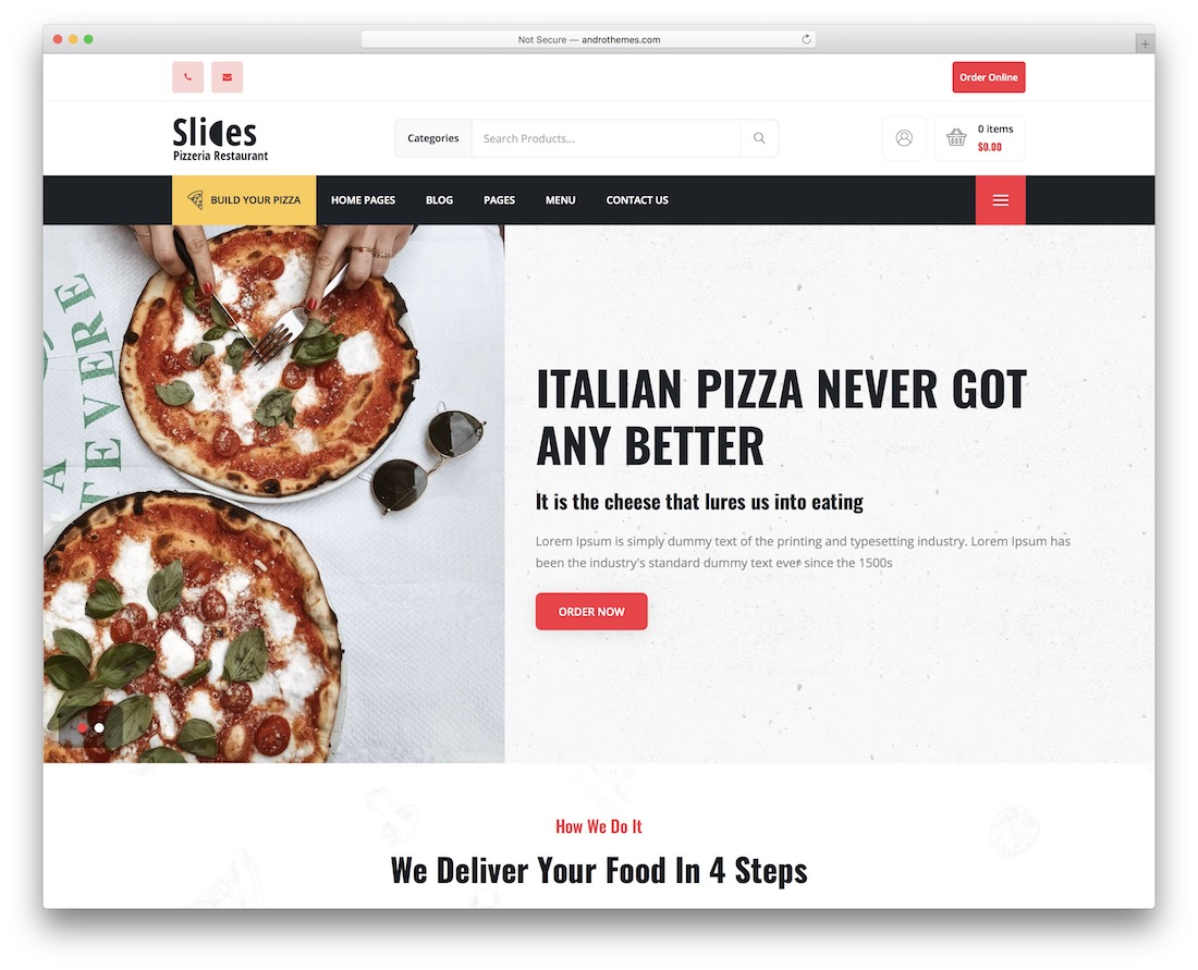slices food delivery wordpress theme