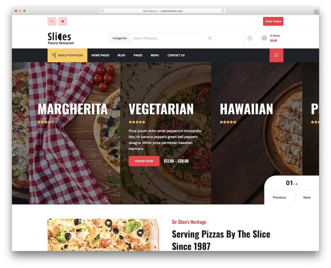 slices pizza house wordpress theme