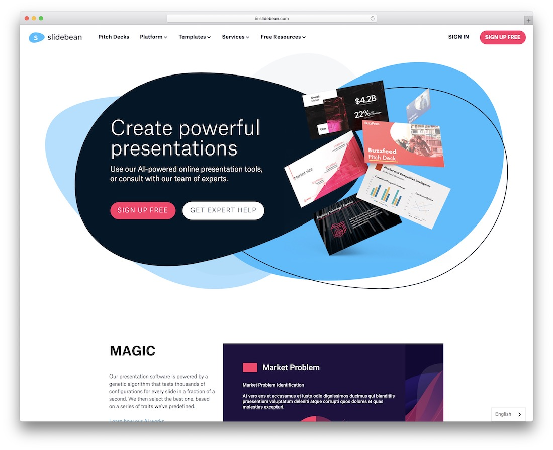 slidebean tool for creating presentations