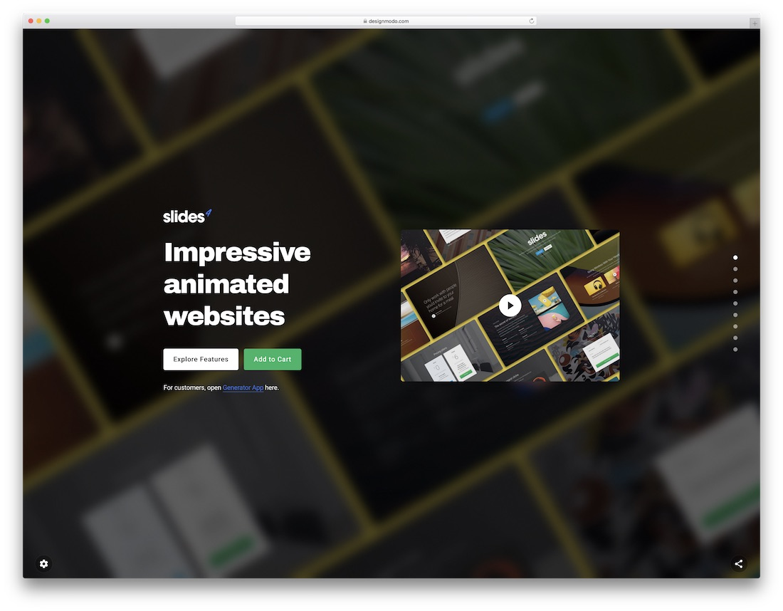 slides website builder for designers