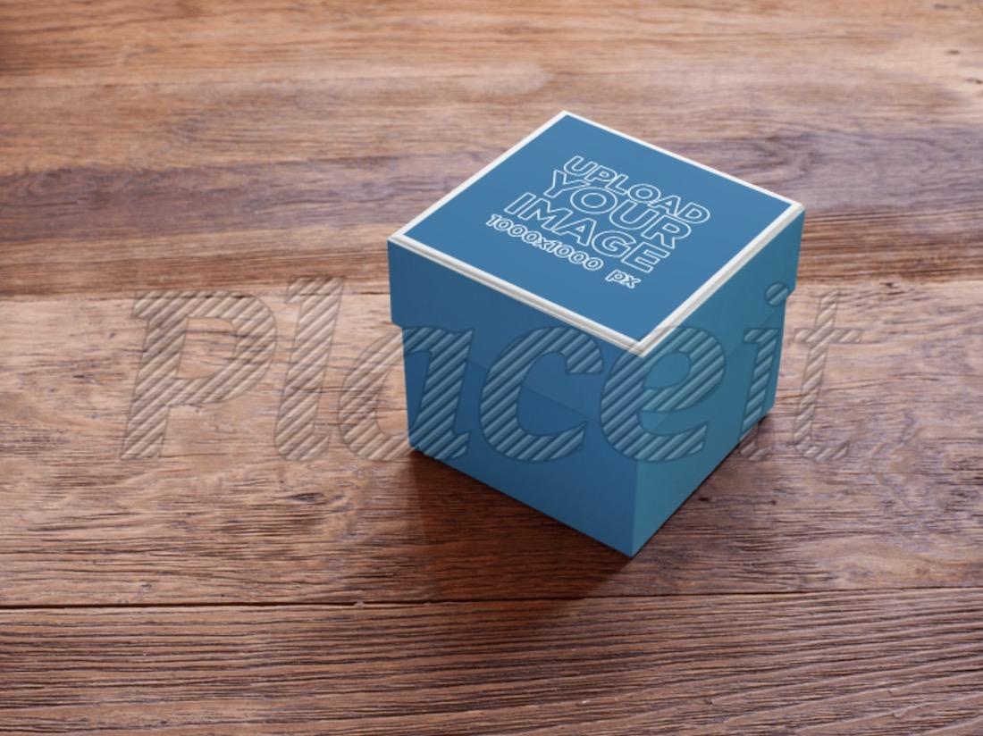 small box on a wooden table mockup