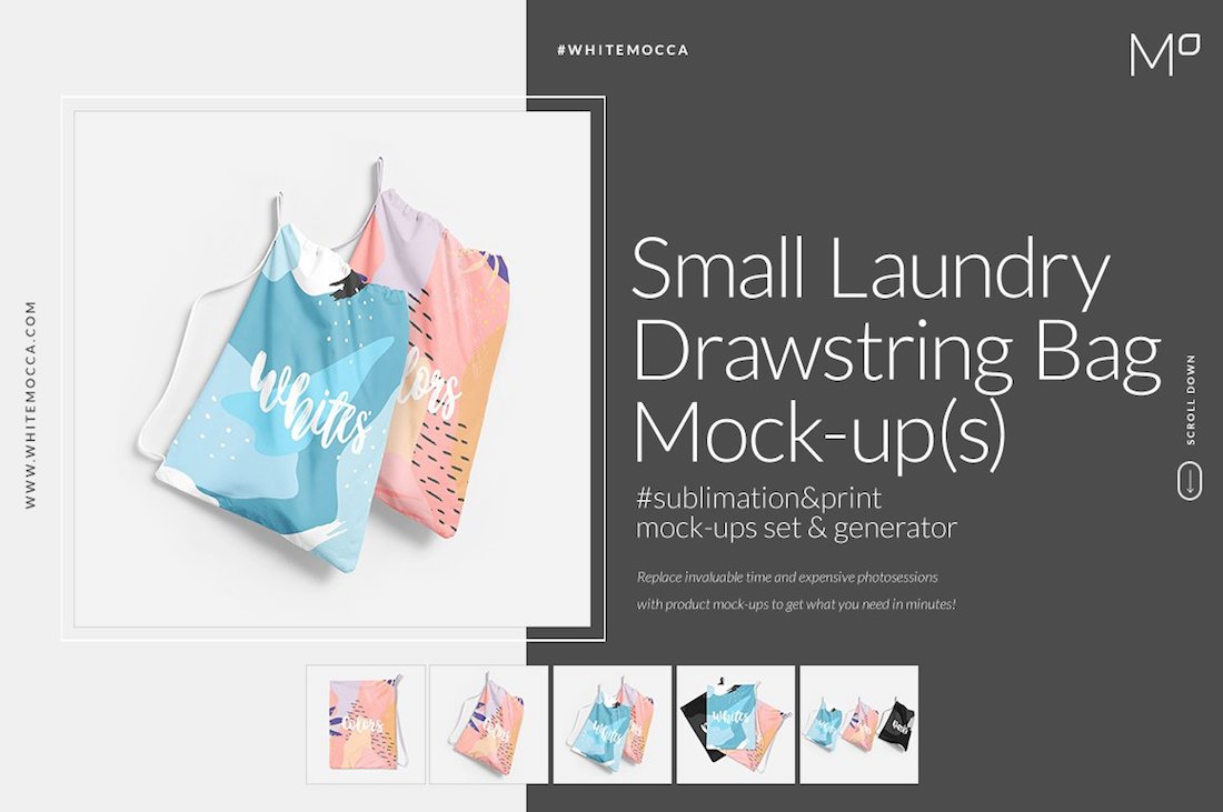 small laundry drawstring bag mockup