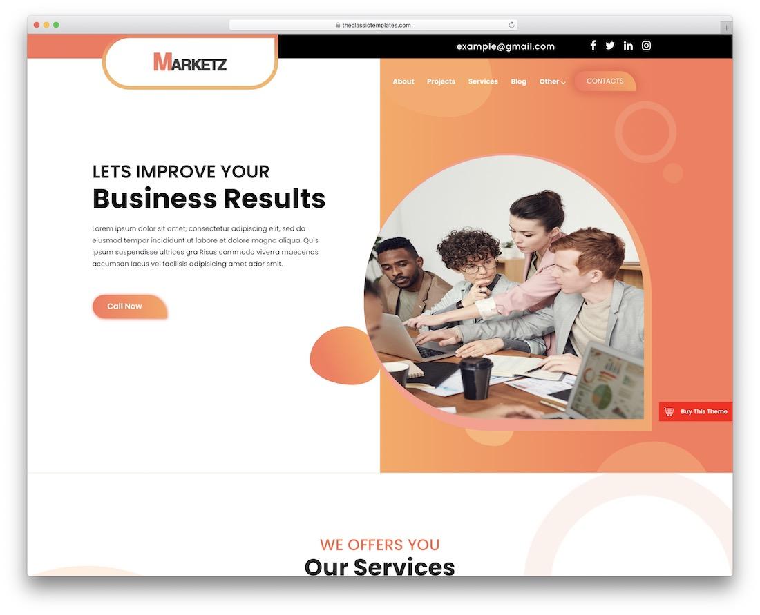 smallbiz startup free bootstrap business wordpress theme