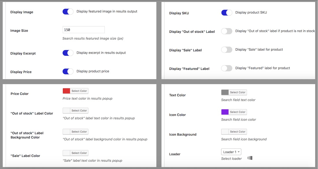 smart ajax product search plugin settings
