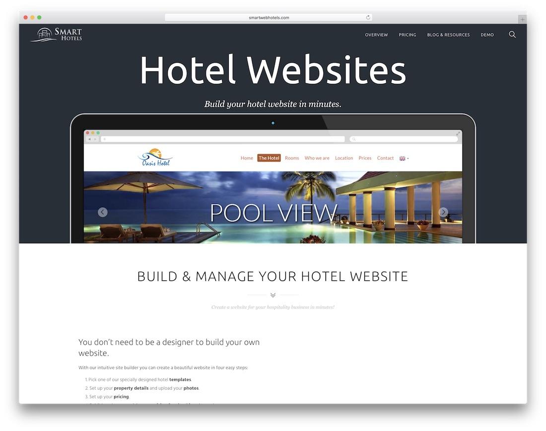 smart hotels hotel website builder