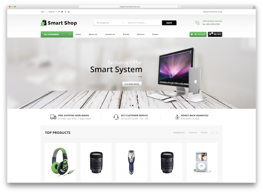 smart shop magento technology theme