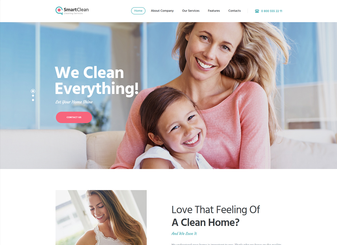 SmartClean - Cleaning Company WordPress Theme