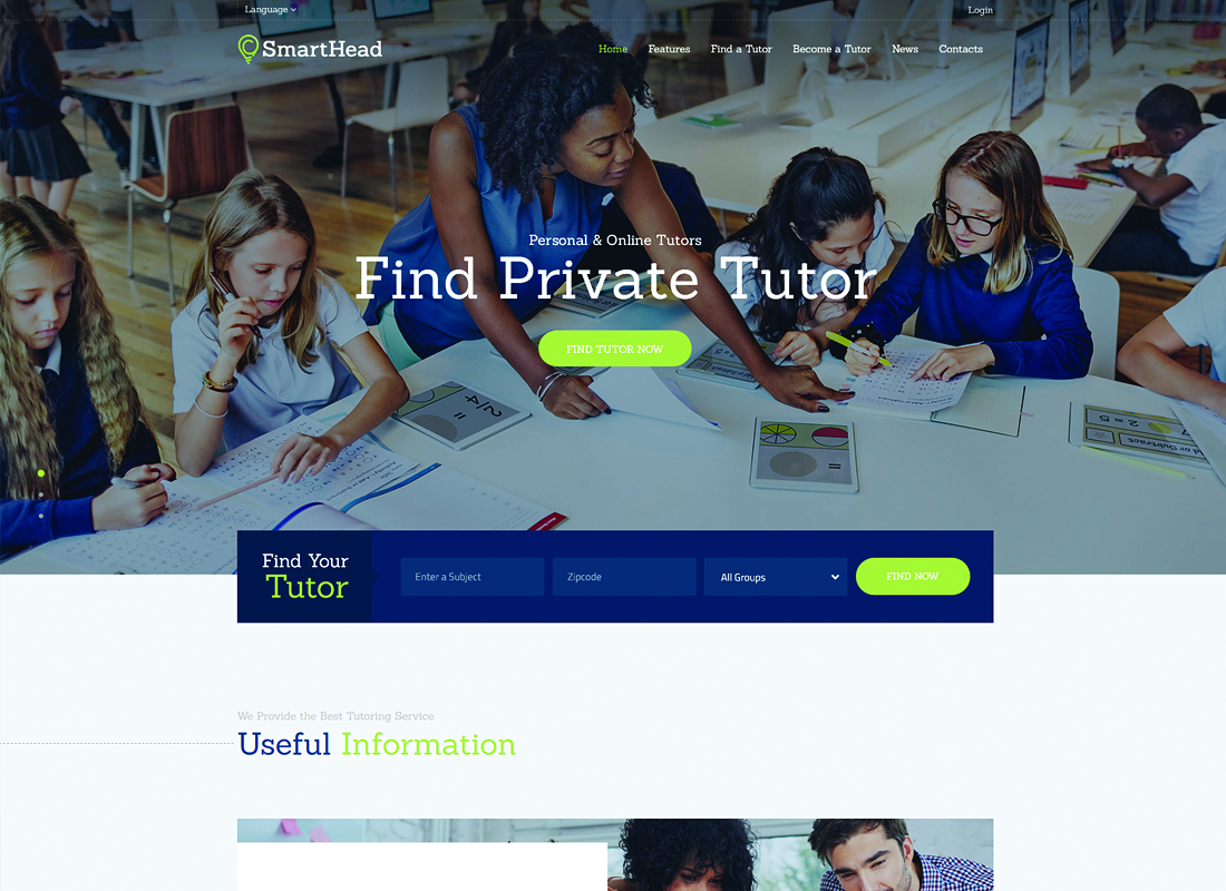 SmartHead - Tutoring Service & Online School WordPress Theme