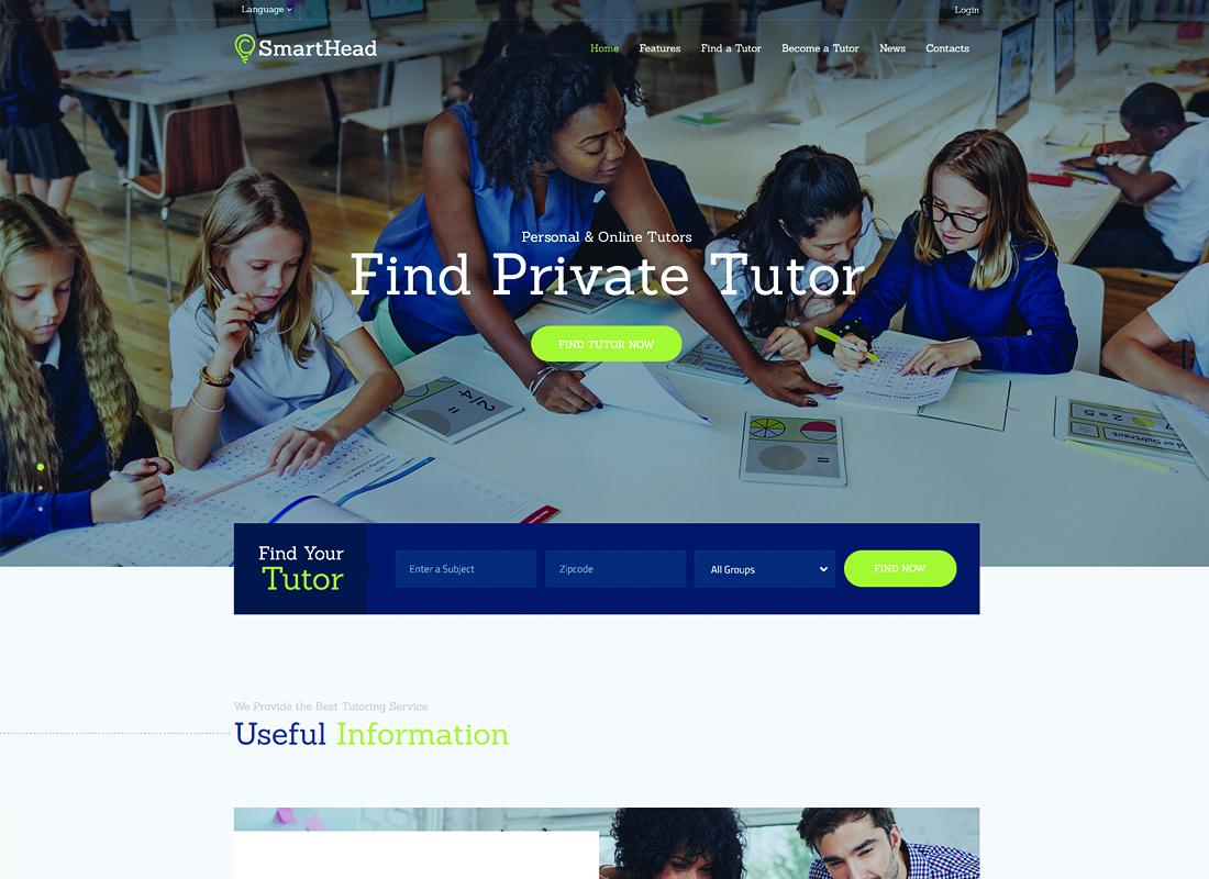 SmartHead - Tutoring Service & Online School WordPress Theme