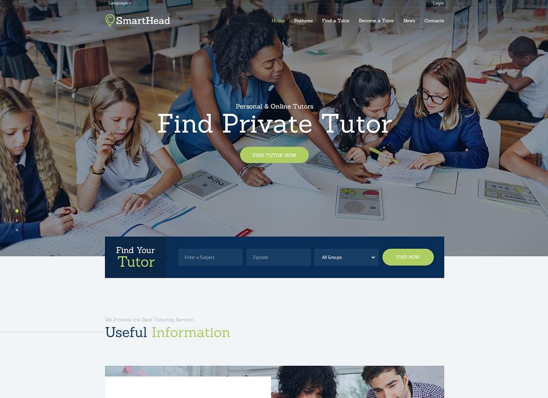 SmartHead | Tutoring Service & Online School WordPress Theme