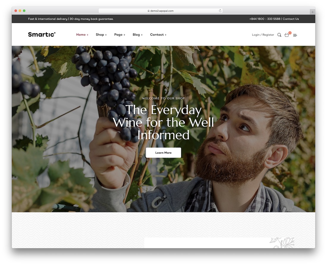 smartic wine wordpress theme