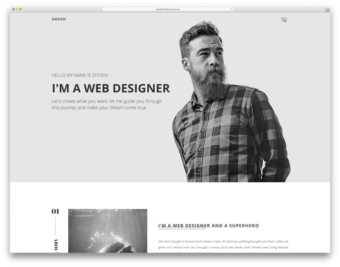 smash clean adobe muse template