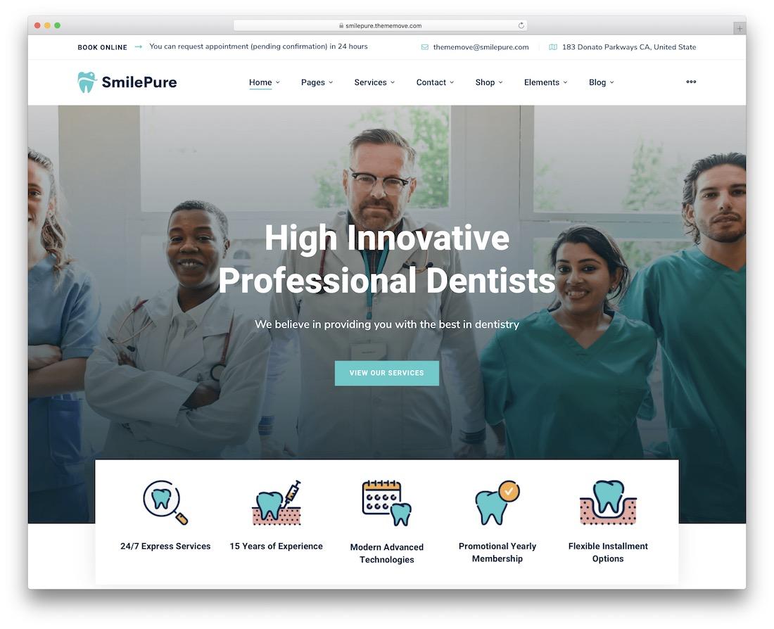 smilepure doctor website template