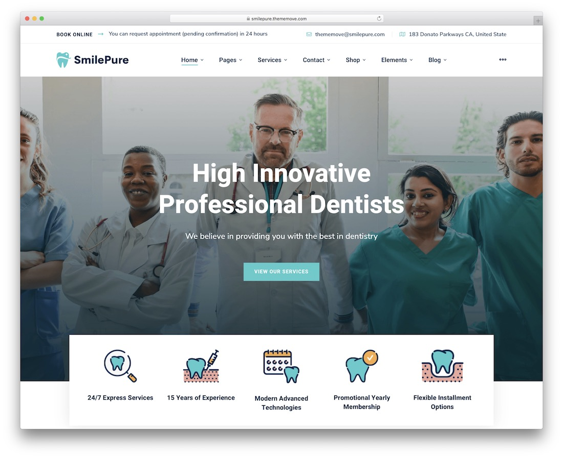 smilepure wordpress dentist theme