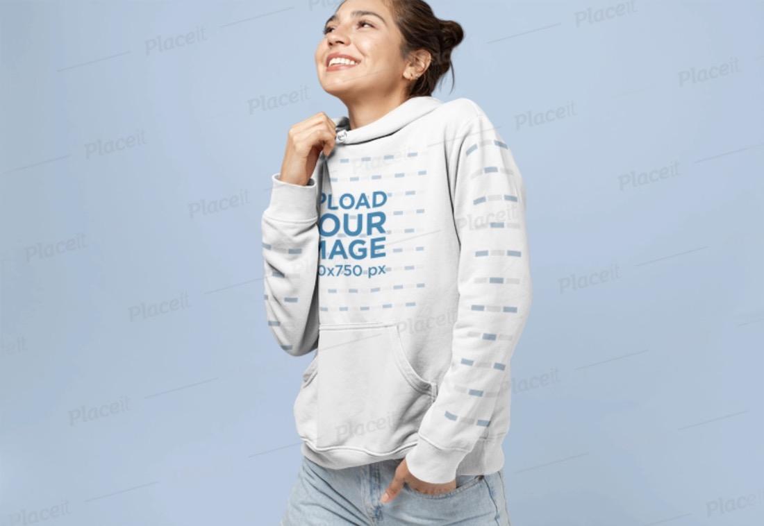 smiling woman wearing hoodie pullover mockup