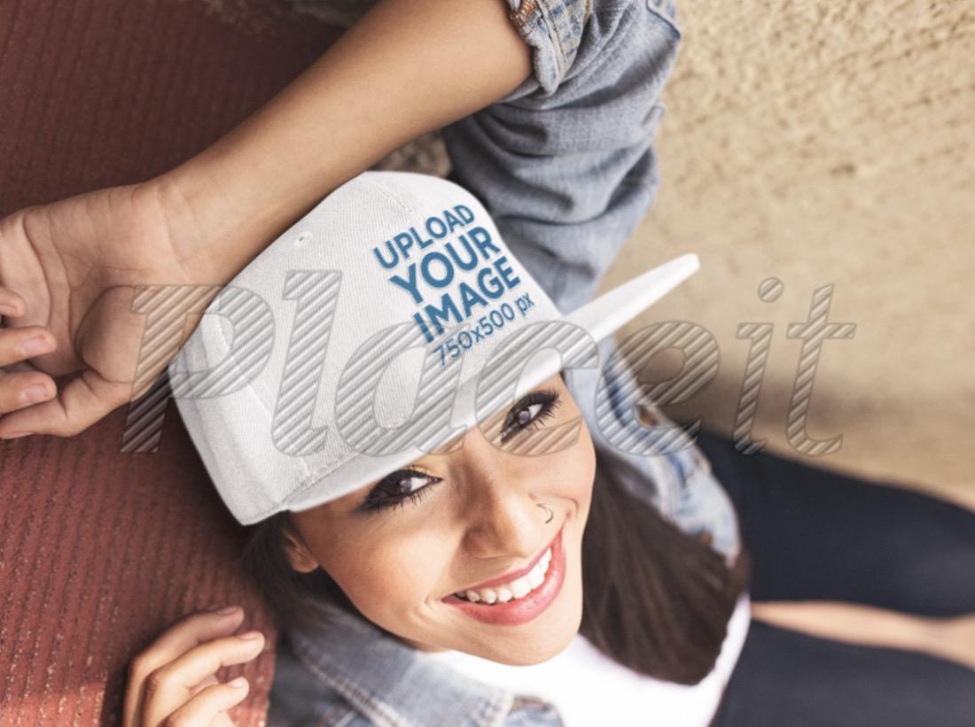 smiling young woman wearing a baseball cap mockup