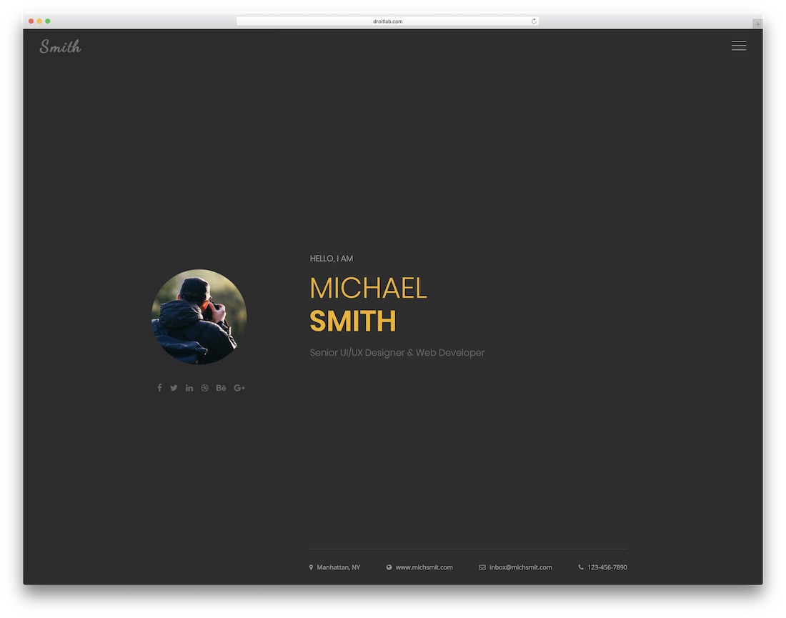 smith HTML resume cv website template