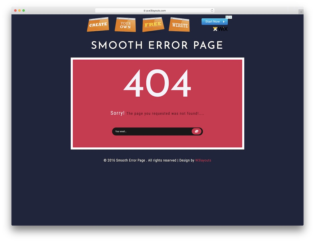 smooth free 404 error page template