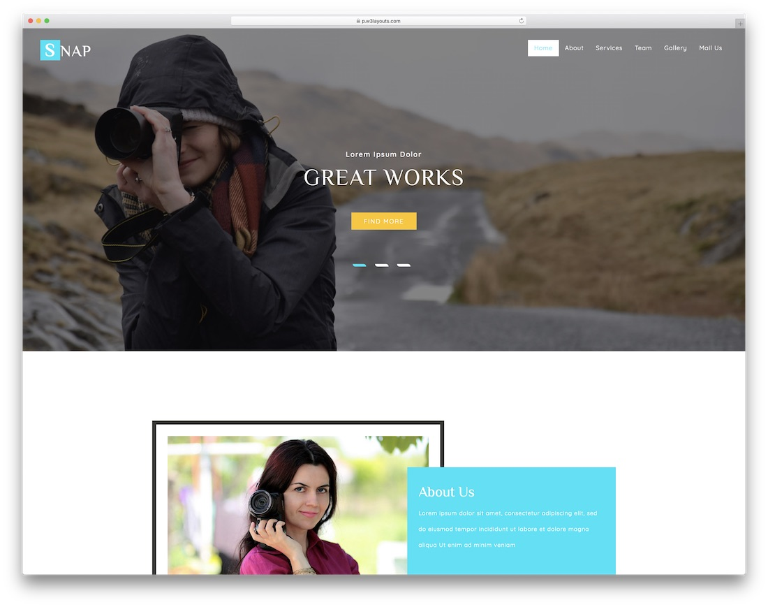 snap free bootstrap gallery template