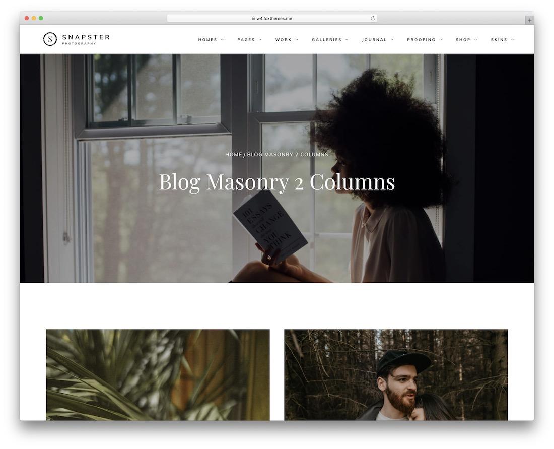 snapster wordpress photography blog theme