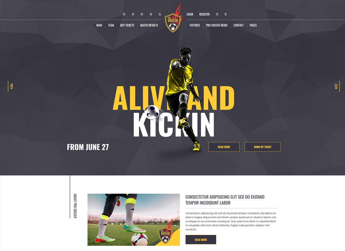 Soccer | Soccer and Football Club WordPress Theme