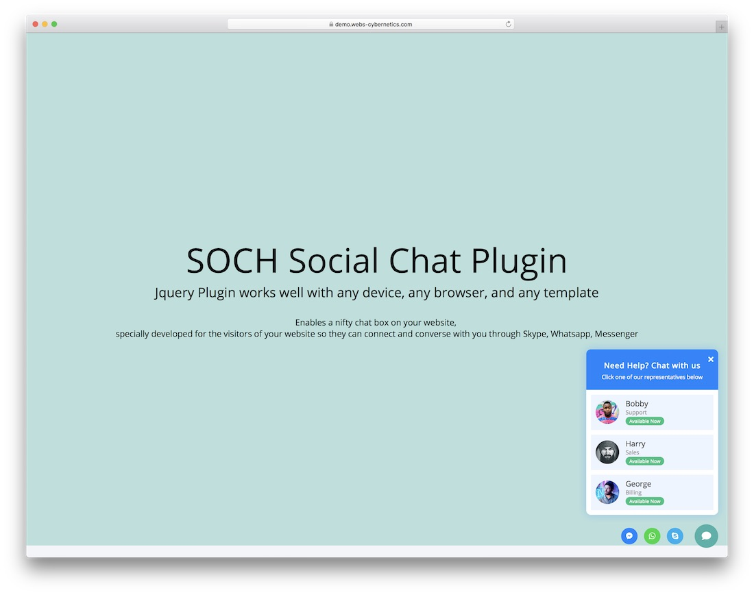 soch social chat support jquery plugin social media