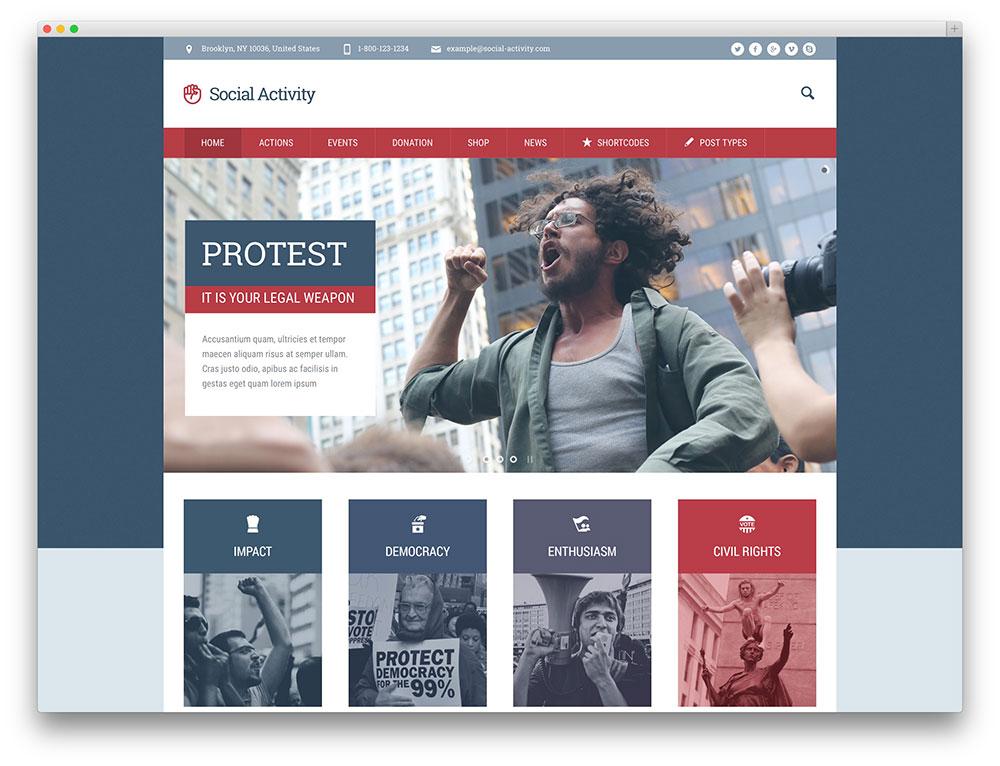 social activity NGO wordpress theme