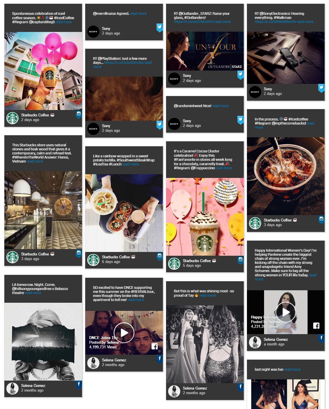 Dark-themed WordPress Facebook Feed Plugins