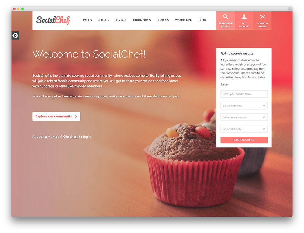 socialchef recipe buddyPress community theme