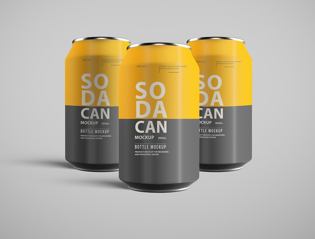 24 Best Realistic Soda Can Mockup Designs 2020
