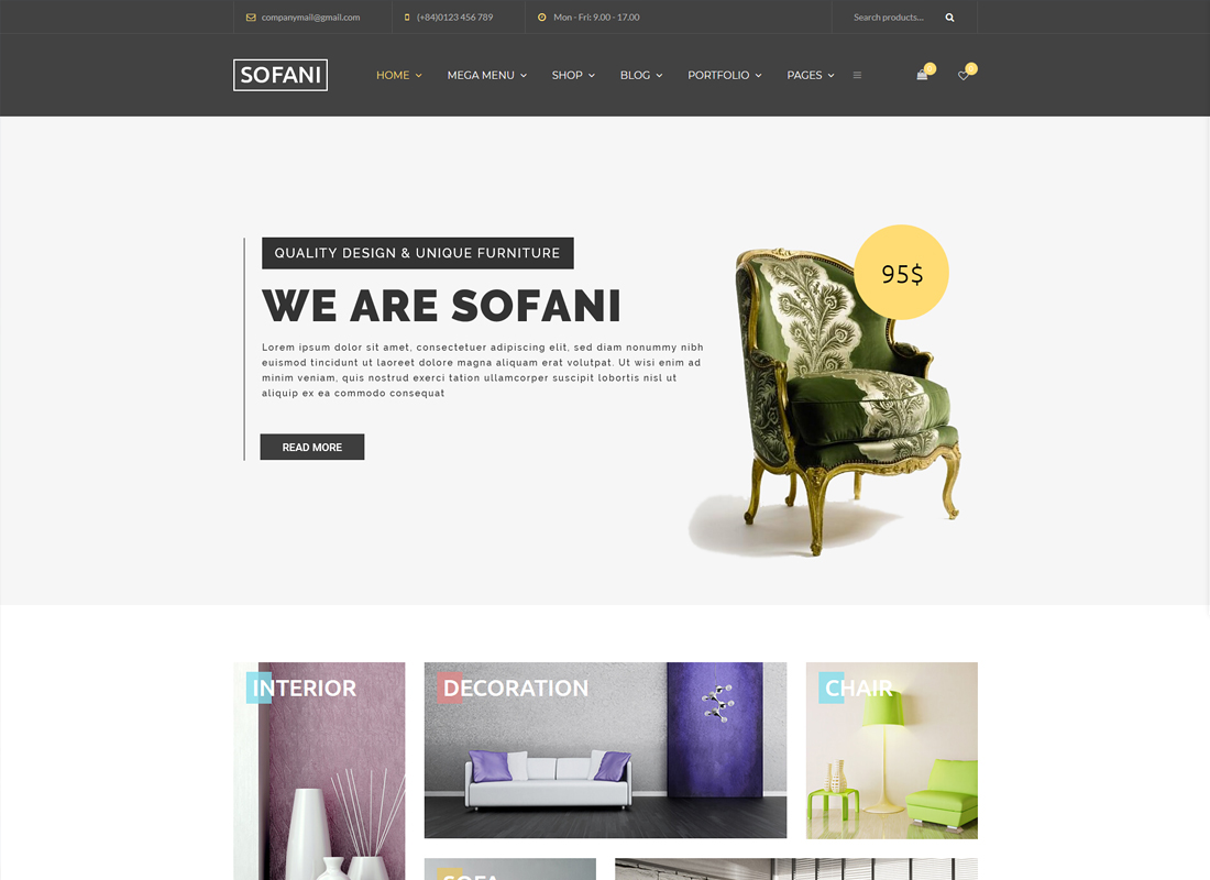 Sofani | Furniture Store WooCommerce WordPress Theme