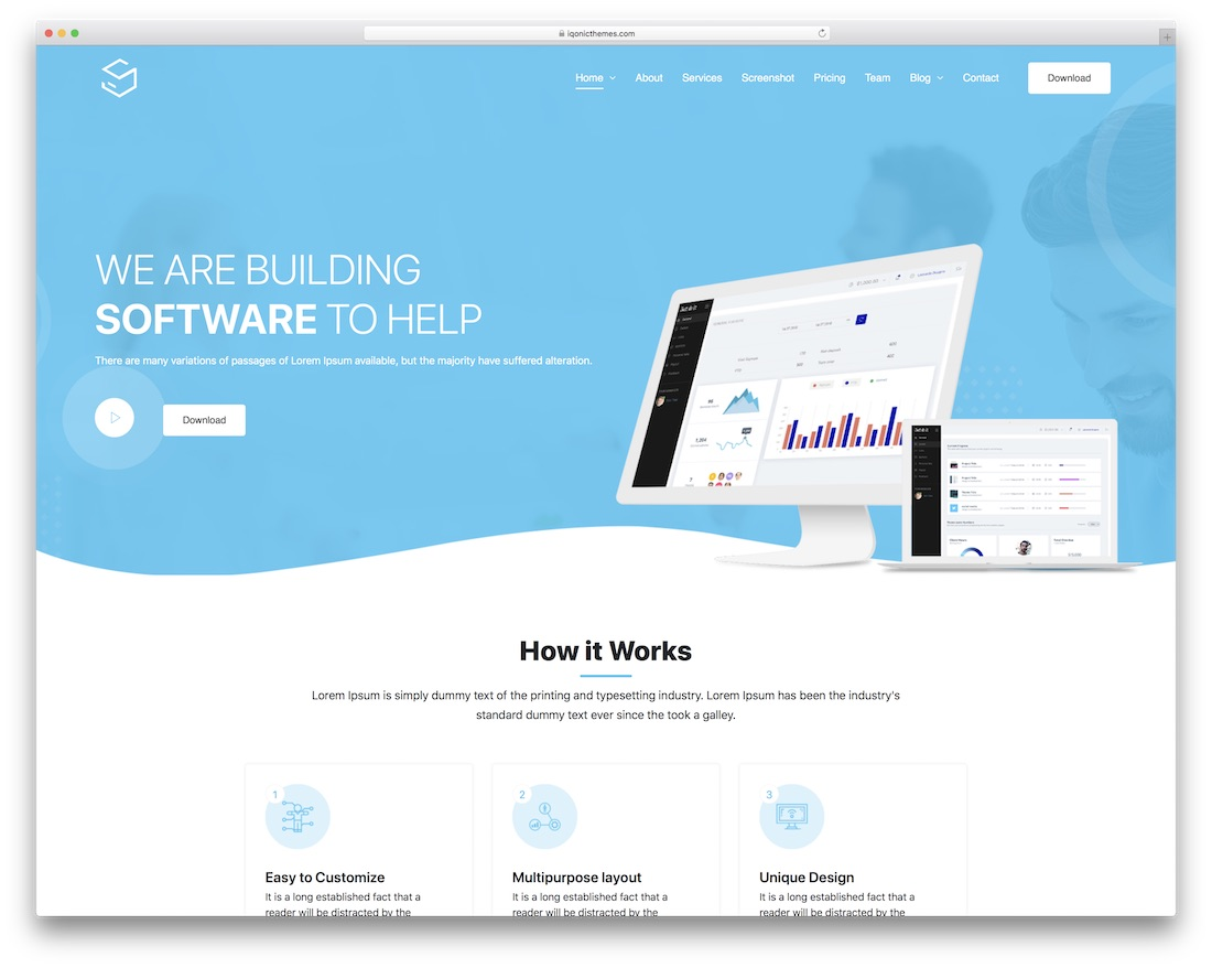 sofbox landing page wordpress theme