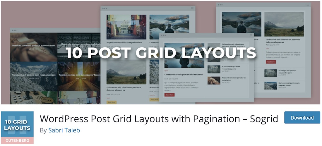 sogrid free wordpress pagination plugin