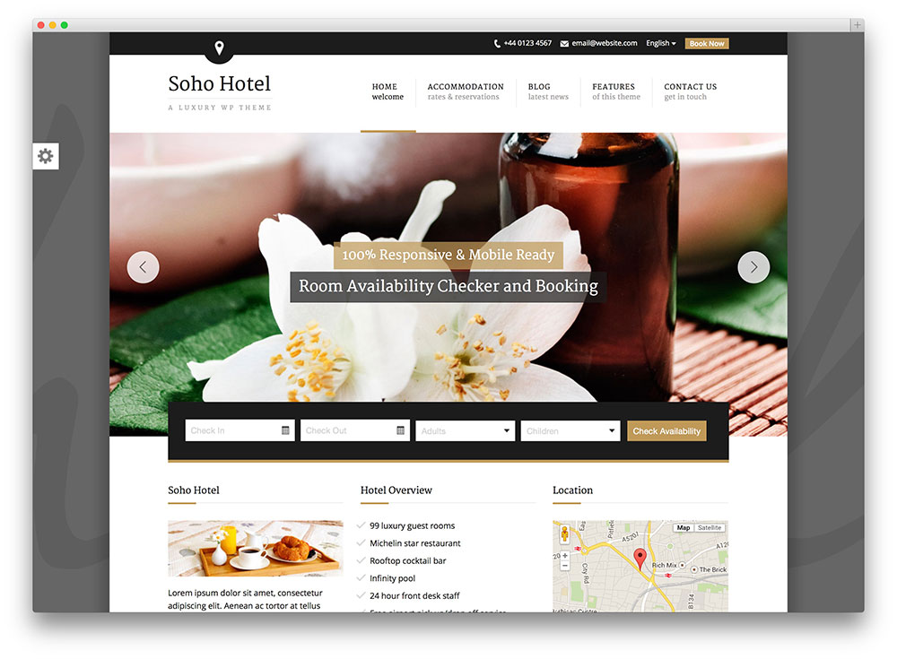 soho hote WP theme