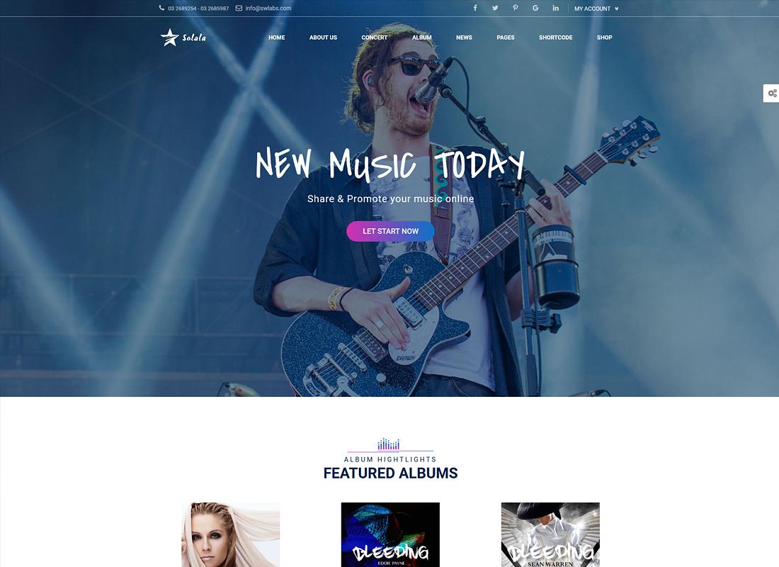 Solala   Music WordPress Theme