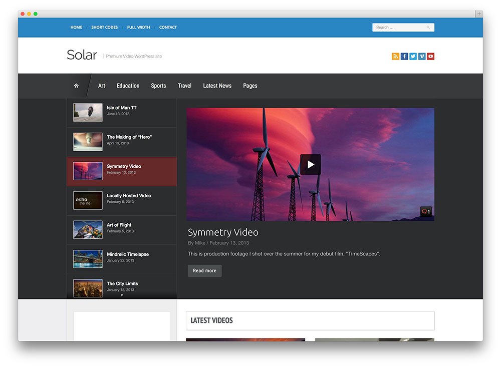 solar creative video sharing theme