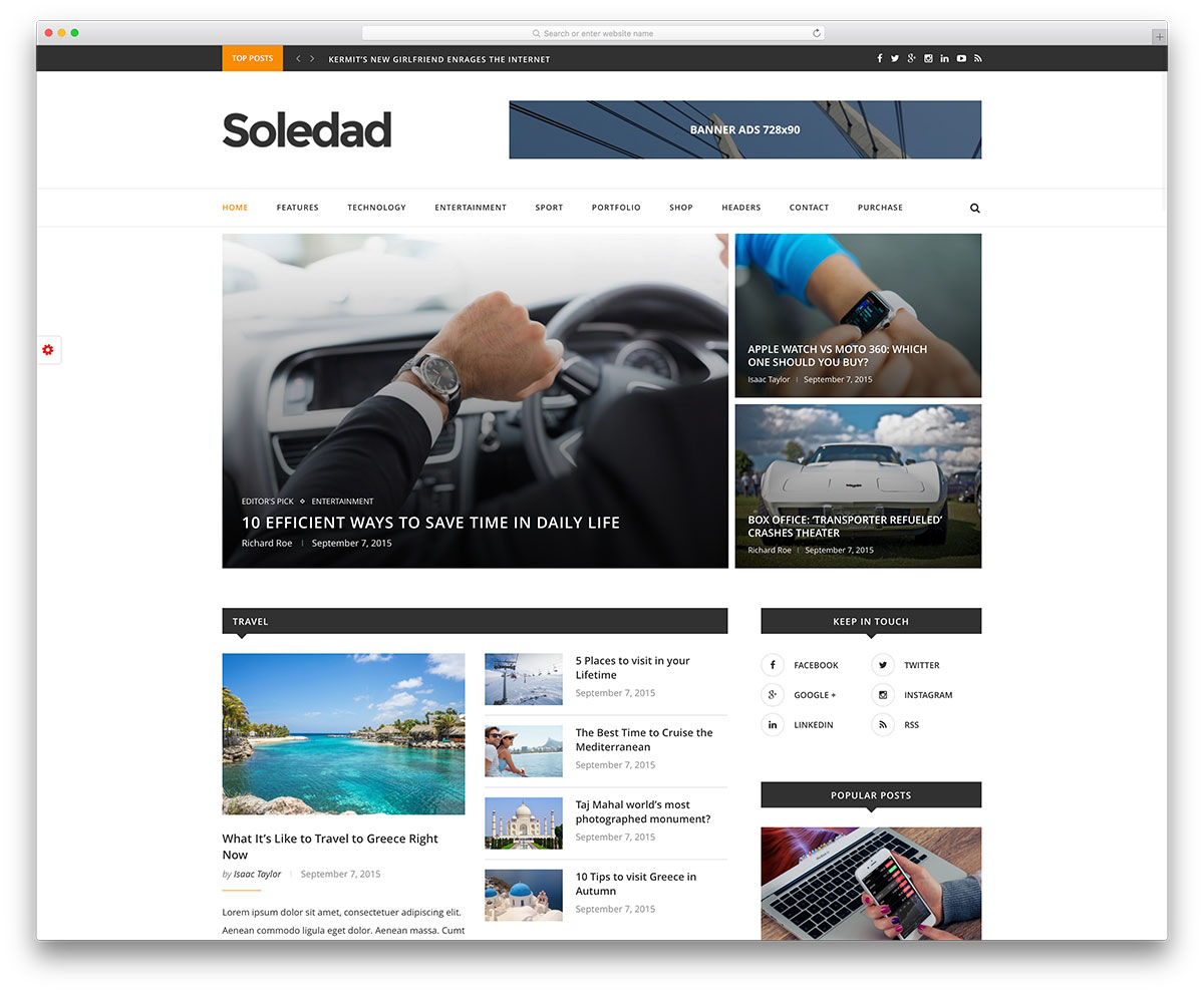 soldedad-minimal-news-website-template