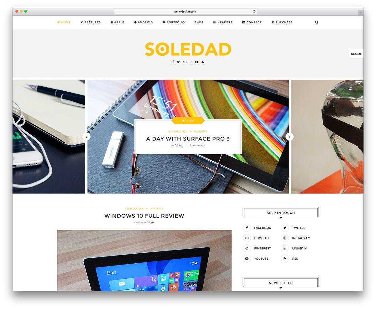 Google themes date a live - Soledad Technology Bloggin Wordpress Theme
