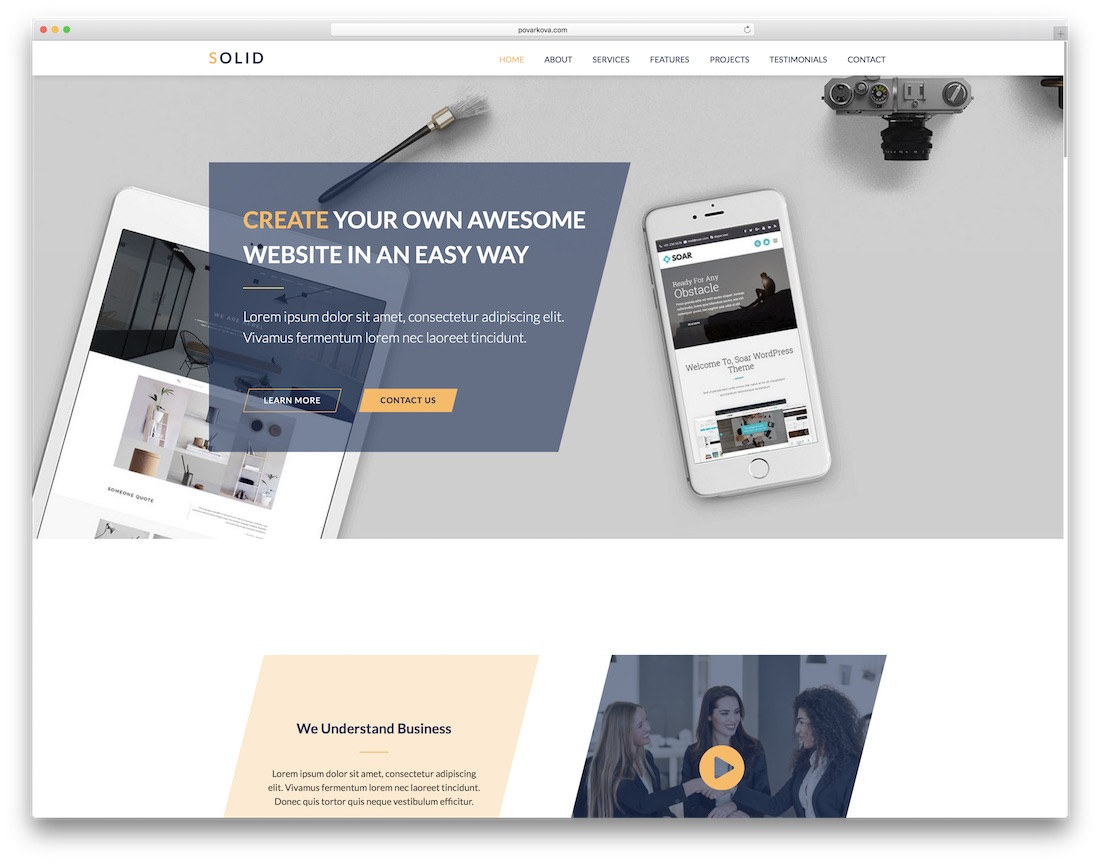 solid clean adobe muse template