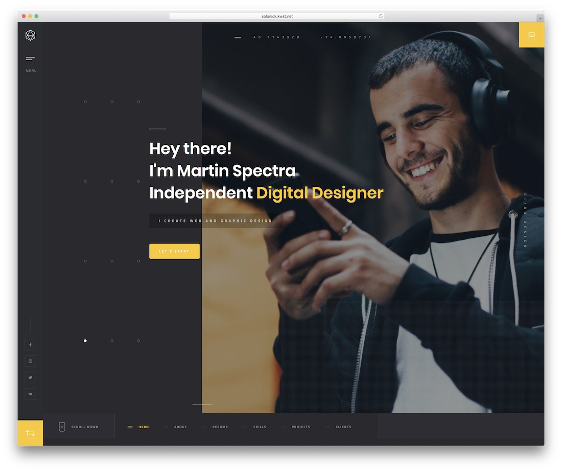 solonick personal website template
