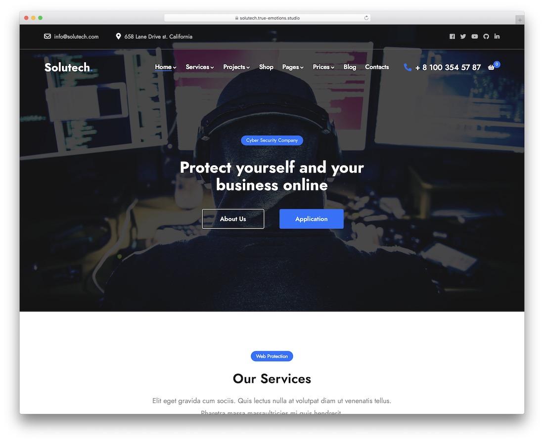 solutech security service wordpress theme