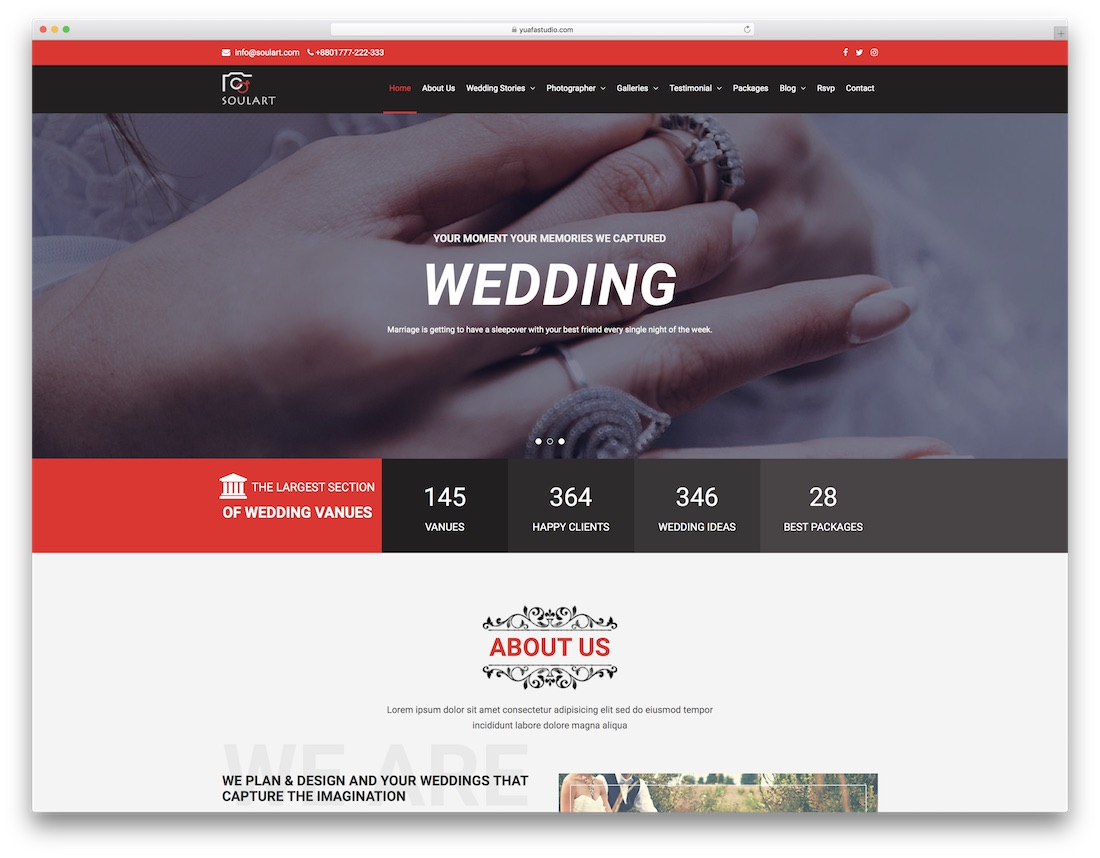 soulart html wedding website template