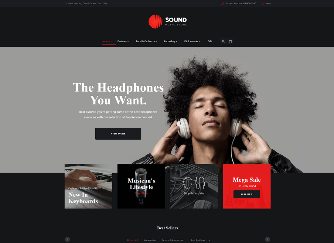 Sound - Musical Instruments Online Store WordPress Theme