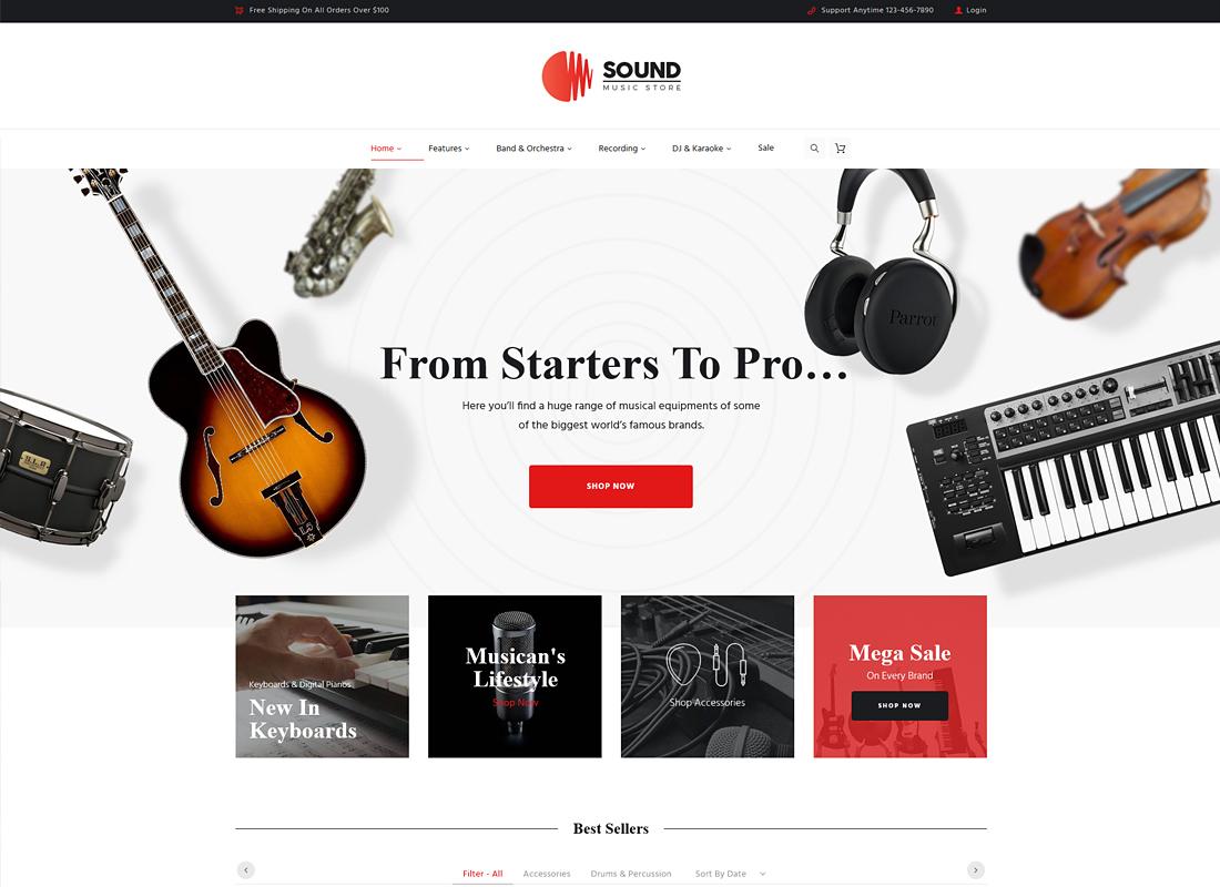 Sound   Musical Instruments Online Store WordPress Theme