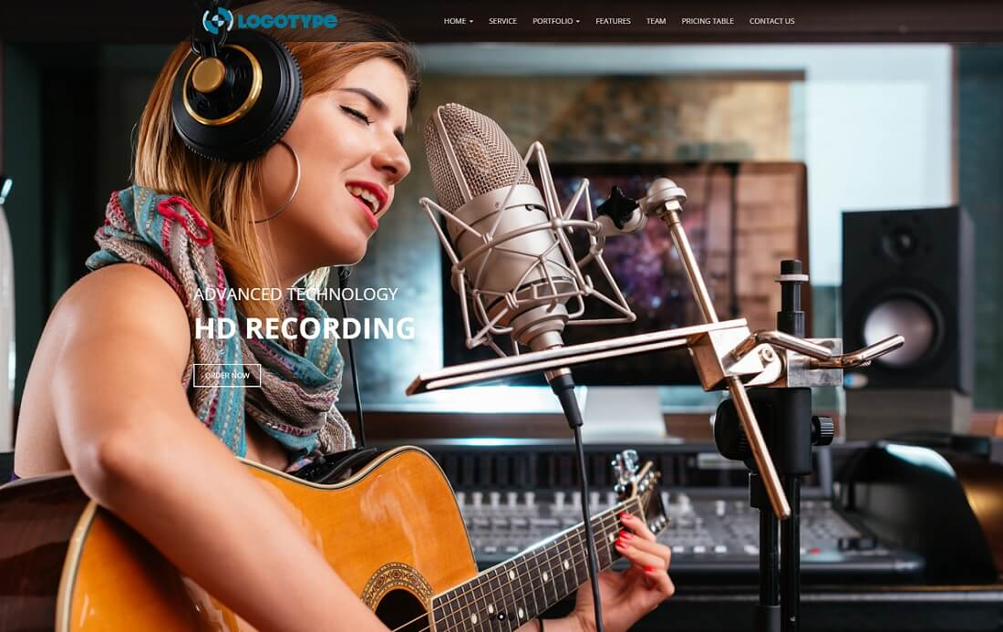 sound studio free music website template